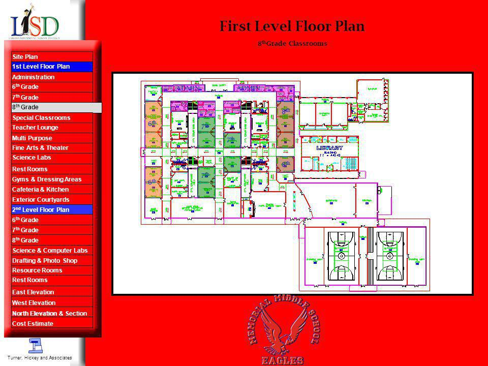 First Level Floor Plan 8 th Grade Classrooms 7 th 8 th ADMIN. 6 th Turner, Hickey and Associates Site Plan 1st Level Floor Plan Administration 6 th Gr