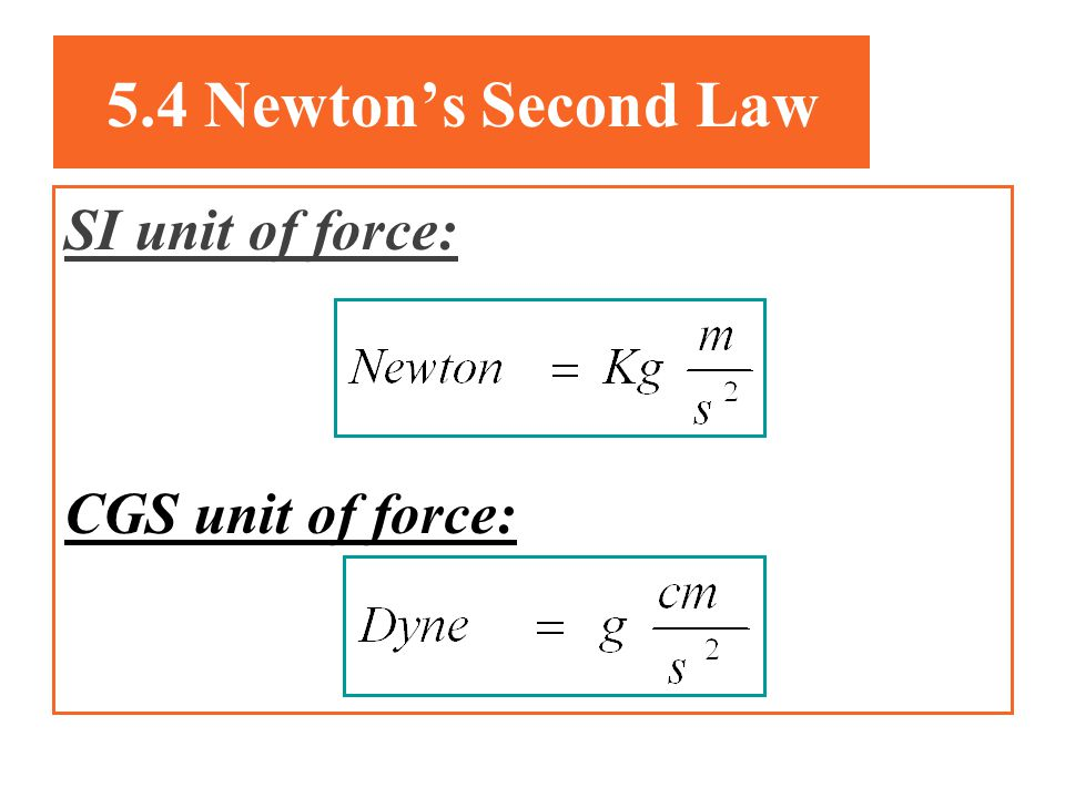 5.4 Newtons Second Law The acceleration of an object is directly proportional to the net force acting on it and inversely proportional to its mass. :i