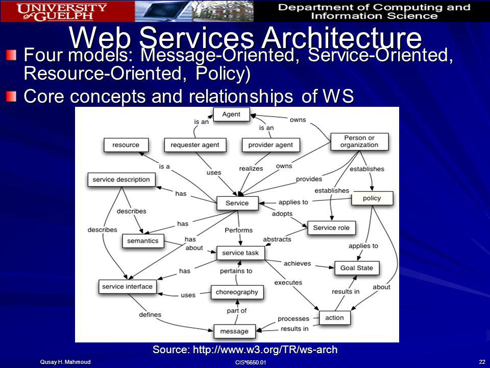 Qusay H. Mahmoud CIS*6650.01 22 Web Services Architecture Four models: Message-Oriented, Service-Oriented, Resource-Oriented, Policy) Core concepts an