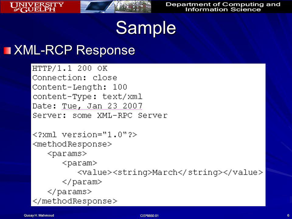 Qusay H. Mahmoud CIS*6650.01 7 XML-RPC to Java Mapping Explore mapping to other languages