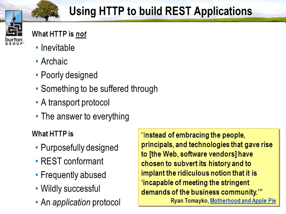 Using HTTP to build REST Applications What HTTP is not Inevitable Archaic Poorly designed Something to be suffered through A transport protocol The answer to everything What HTTP is Purposefully designed REST conformant Frequently abused Wildly successful An application protocol I nstead of embracing the people, principals, and technologies that gave rise to [the Web, software vendors] have chosen to subvert its history and to implant the ridiculous notion that it is incapable of meeting the stringent demands of the business community.