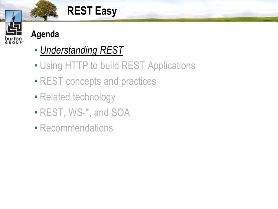 REST Easy Agenda Understanding REST Using HTTP to build REST Applications REST concepts and practices Related technology REST, WS-*, and SOA Recommendations