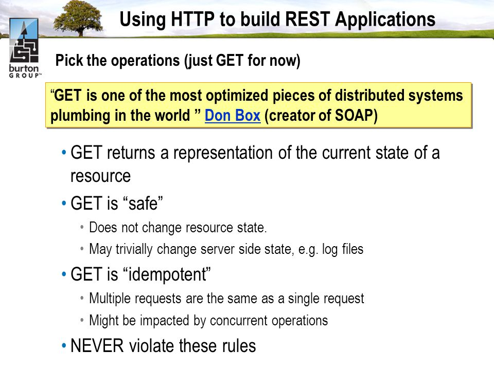 Using HTTP to build REST Applications Pick the operations (just GET for now) GET is one of the most optimized pieces of distributed systems plumbing in the world Don Box (creator of SOAP)Don Box GET is one of the most optimized pieces of distributed systems plumbing in the world Don Box (creator of SOAP)Don Box GET returns a representation of the current state of a resource GET is safe Does not change resource state.