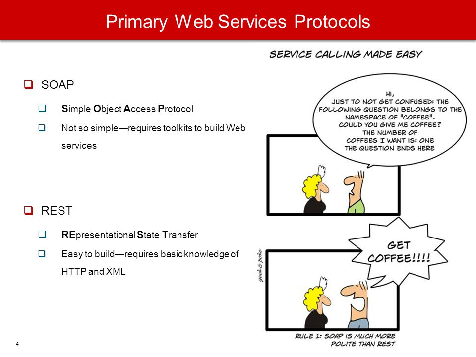 Primary Web Services Protocols SOAP S imple O bject A ccess P rotocol Not so simplerequires toolkits to build Web services REST RE presentational S ta
