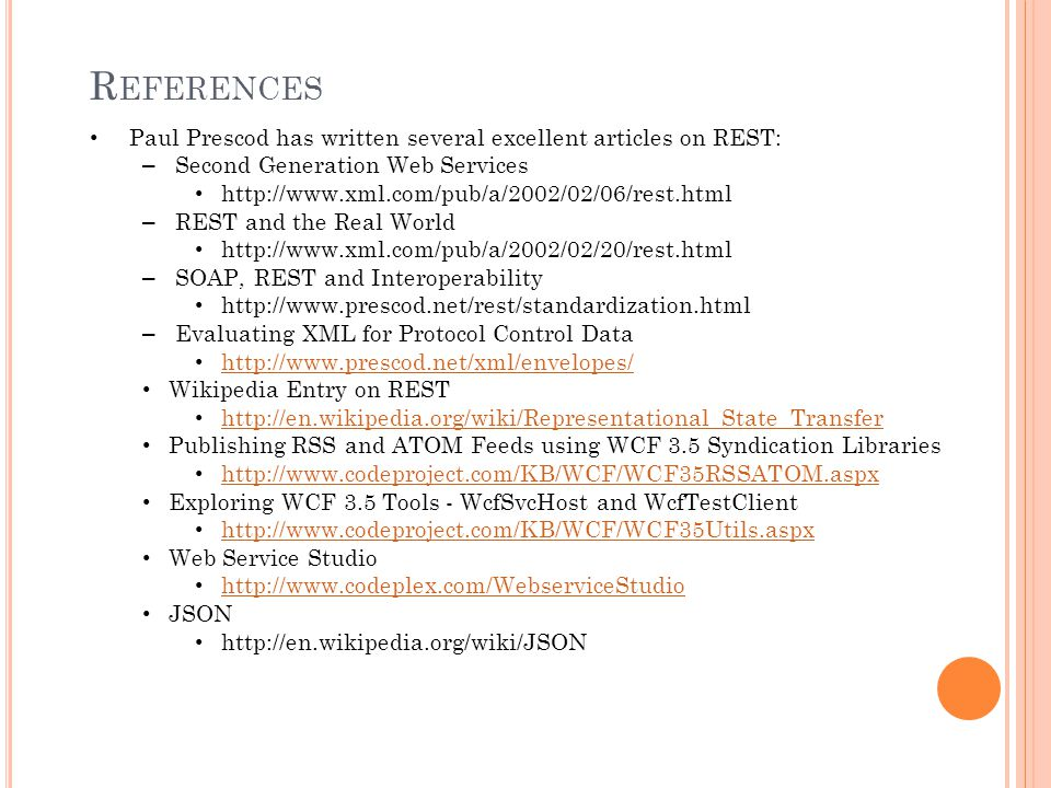 Paul Prescod has written several excellent articles on REST: – Second Generation Web Services http://www.xml.com/pub/a/2002/02/06/rest.html – REST and