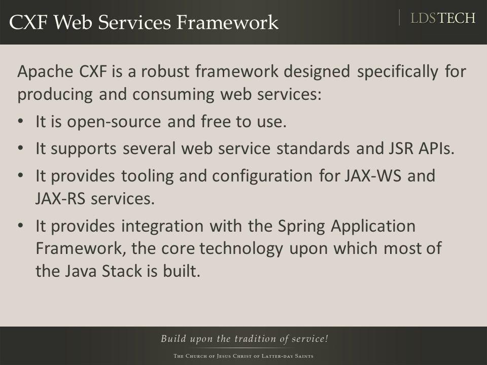 CXF Web Services Framework Apache CXF is a robust framework designed specifically for producing and consuming web services: It is open-source and free