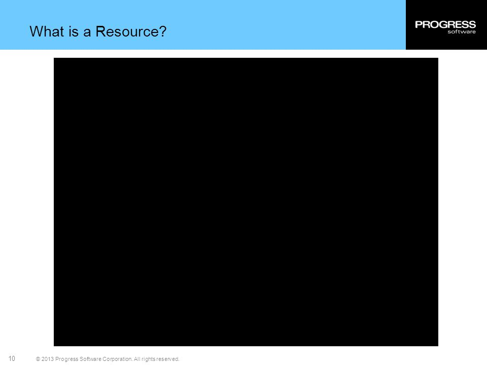 © 2013 Progress Software Corporation. All rights reserved. 10 What is a Resource?
