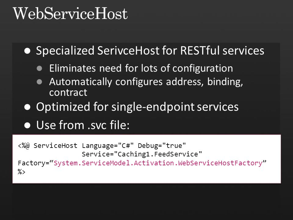 <%@ ServiceHost Language= C# Debug= true Service= Caching1.FeedService Factory=System.ServiceModel.Activation.WebServiceHostFactory %> %>