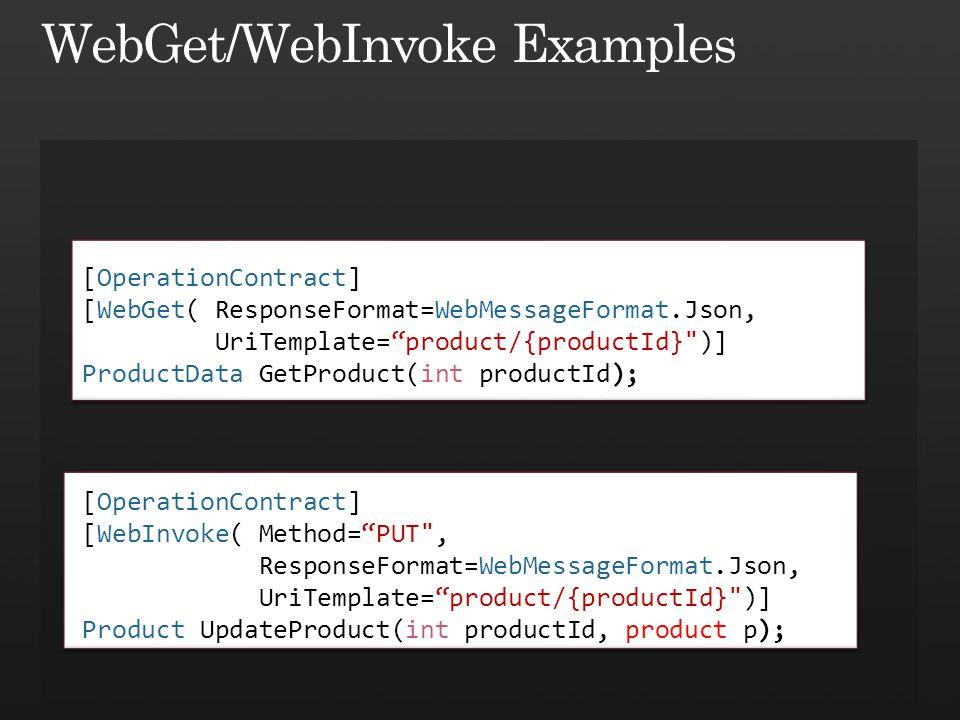 [OperationContract] [WebInvoke( Method=PUT , ResponseFormat=WebMessageFormat.Json, UriTemplate=product/{productId} )] Product UpdateProduct(int productId, product p); [OperationContract] [WebGet( ResponseFormat=WebMessageFormat.Json, UriTemplate=product/{productId} )] ProductData GetProduct(int productId);