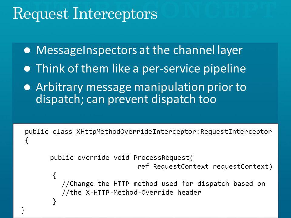 public class XHttpMethodOverrideInterceptor:RequestInterceptor { public override void ProcessRequest( ref RequestContext requestContext) { //Change the HTTP method used for dispatch based on //the X-HTTP-Method-Override header }