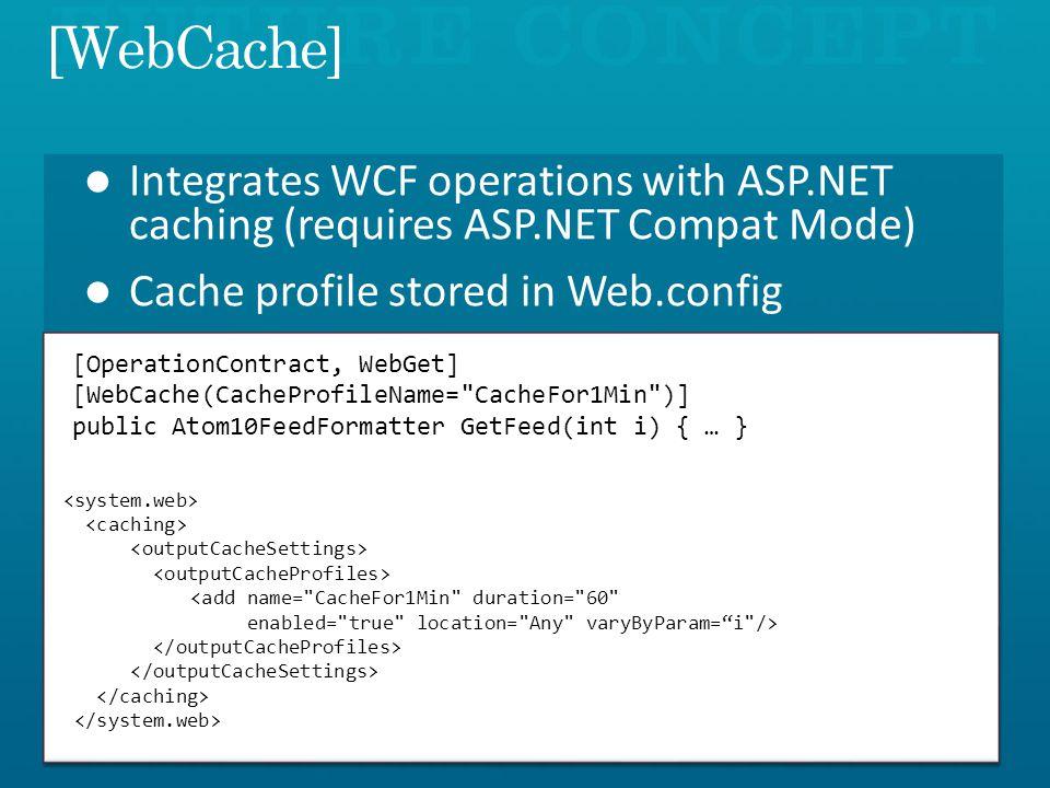 [OperationContract, WebGet] [WebCache(CacheProfileName= CacheFor1Min )] public Atom10FeedFormatter GetFeed(int i) { … } <add name= CacheFor1Min duration= 60 enabled= true location= Any varyByParam=i />