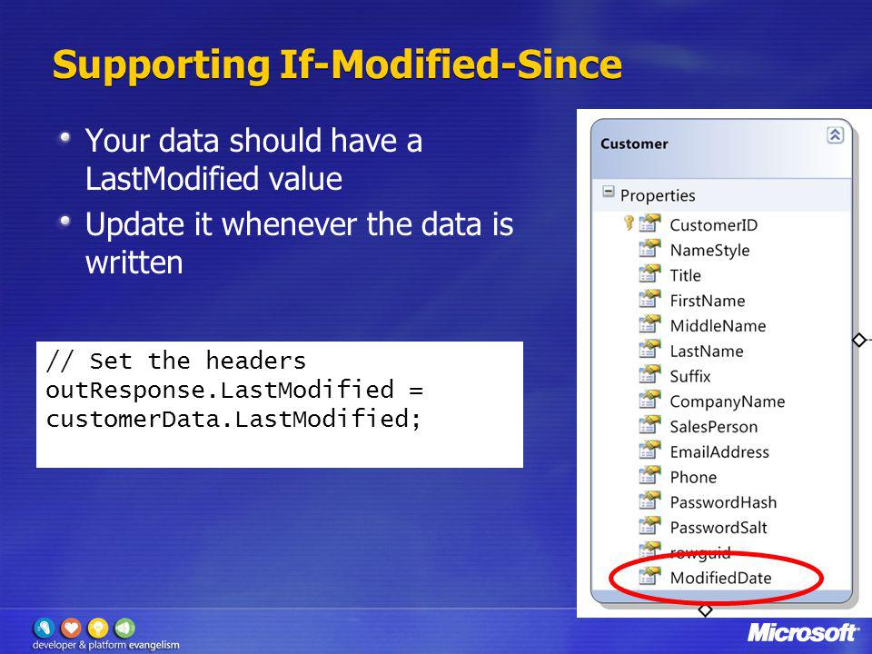Supporting If-Modified-Since Your data should have a LastModified value Update it whenever the data is written // Set the headers outResponse.LastModi