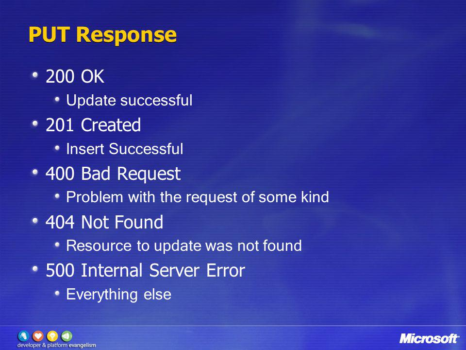 PUT Response 200 OK Update successful 201 Created Insert Successful 400 Bad Request Problem with the request of some kind 404 Not Found Resource to up