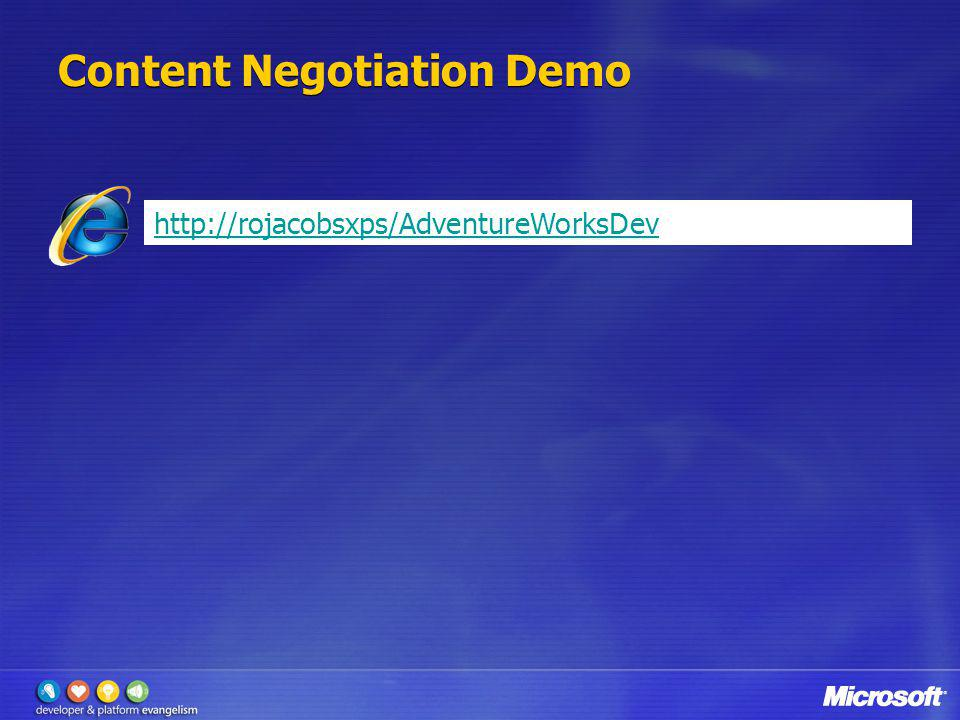 Content Negotiation Demo http://rojacobsxps/AdventureWorksDev