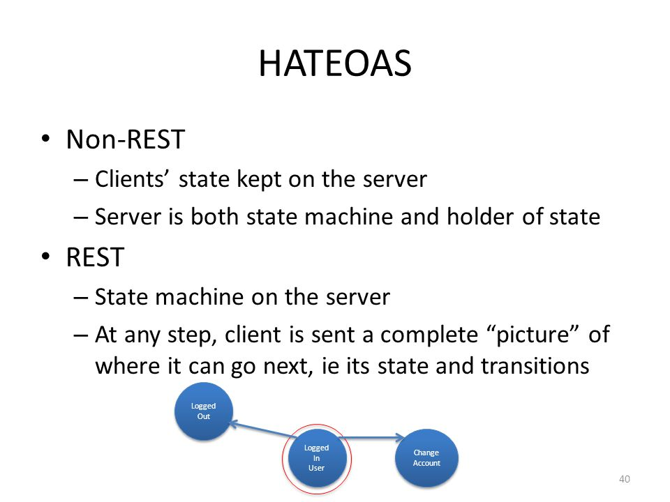 HATEOAS Non-REST – Clients state kept on the server – Server is both state machine and holder of state REST – State machine on the server – At any ste