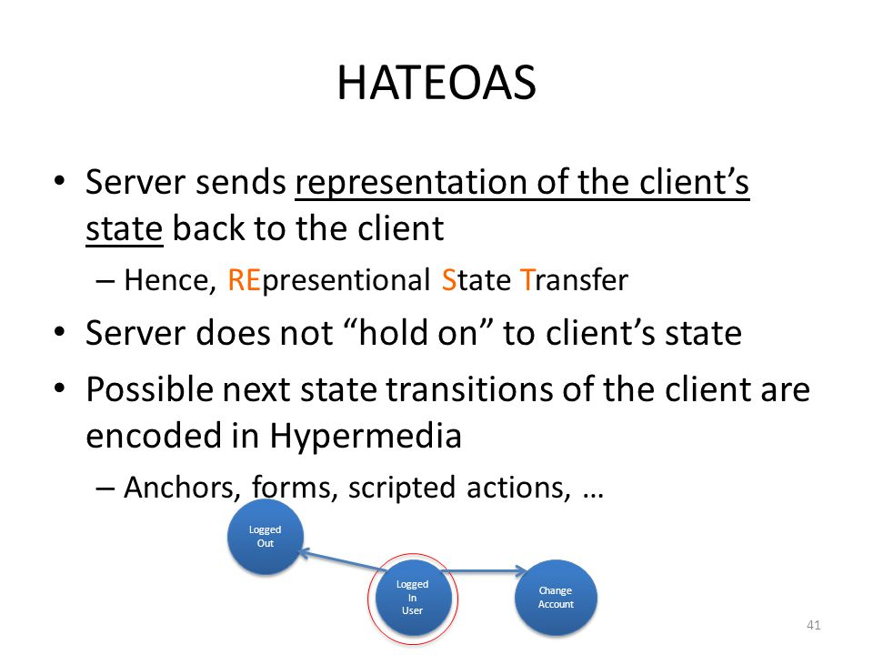 HATEOAS Server sends representation of the clients state back to the client – Hence, REpresentional State Transfer Server does not hold on to clients