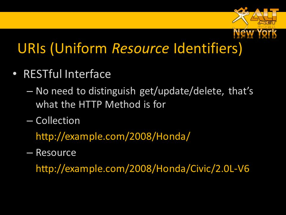 URIs (Uniform Resource Identifiers) RESTful Interface – No need to distinguish get/update/delete, thats what the HTTP Method is for – Collection http: