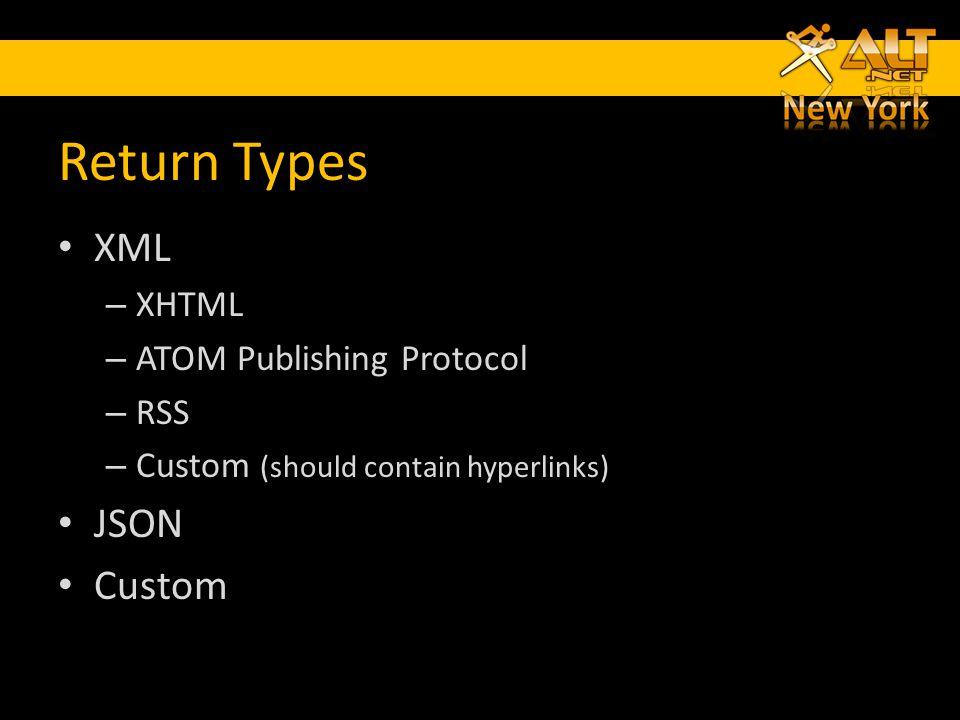 Return Types XML – XHTML – ATOM Publishing Protocol – RSS – Custom (should contain hyperlinks) JSON Custom