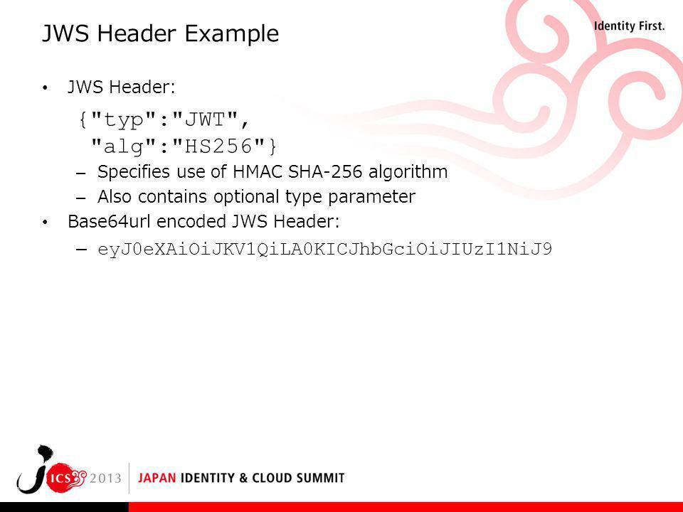 JWS Header Example JWS Header: {