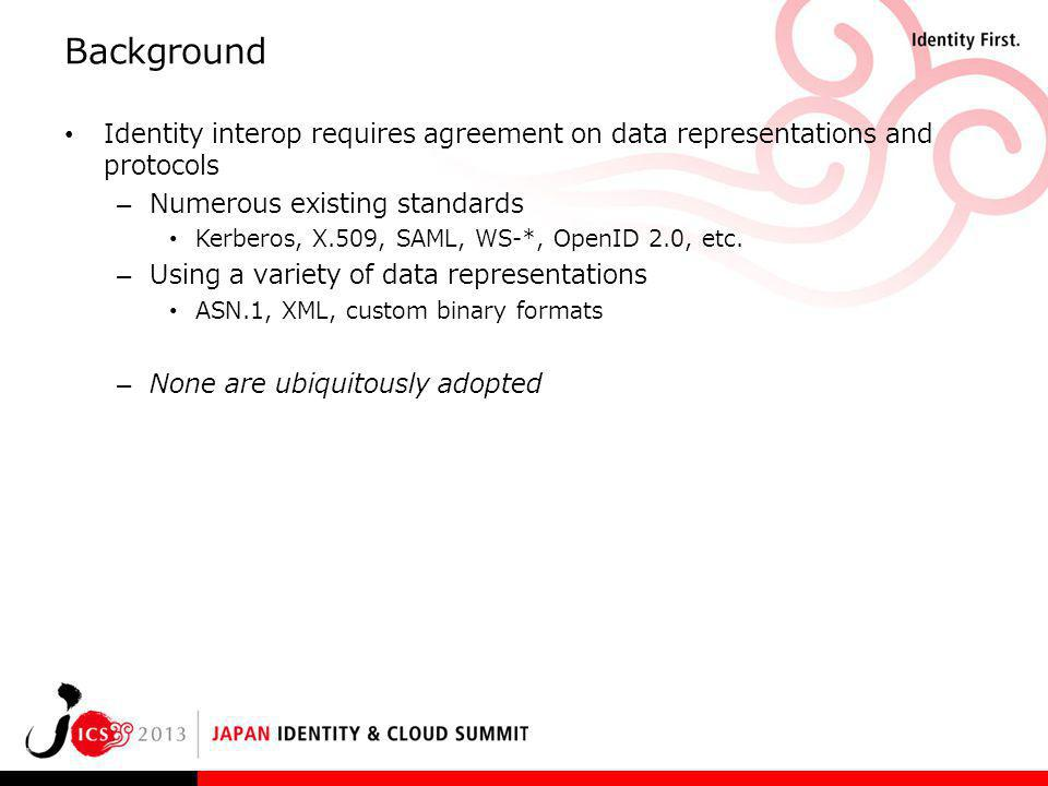 Background Identity interop requires agreement on data representations and protocols – Numerous existing standards Kerberos, X.509, SAML, WS-*, OpenID