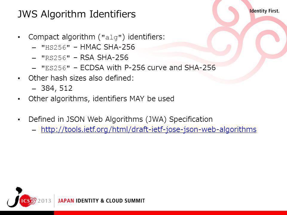 JWS Algorithm Identifiers Compact algorithm (