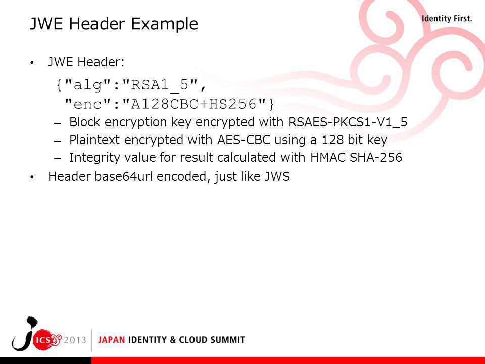 JWE Header Example JWE Header: {