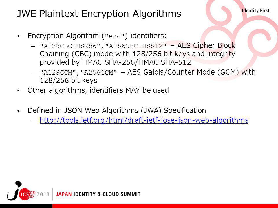 JWE Plaintext Encryption Algorithms Encryption Algorithm (