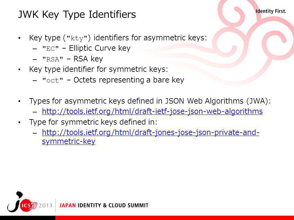JWK Key Type Identifiers Key type (
