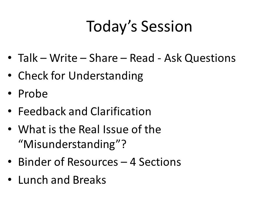 Todays Session Talk – Write – Share – Read - Ask Questions Check for Understanding Probe Feedback and Clarification What is the Real Issue of the Misu