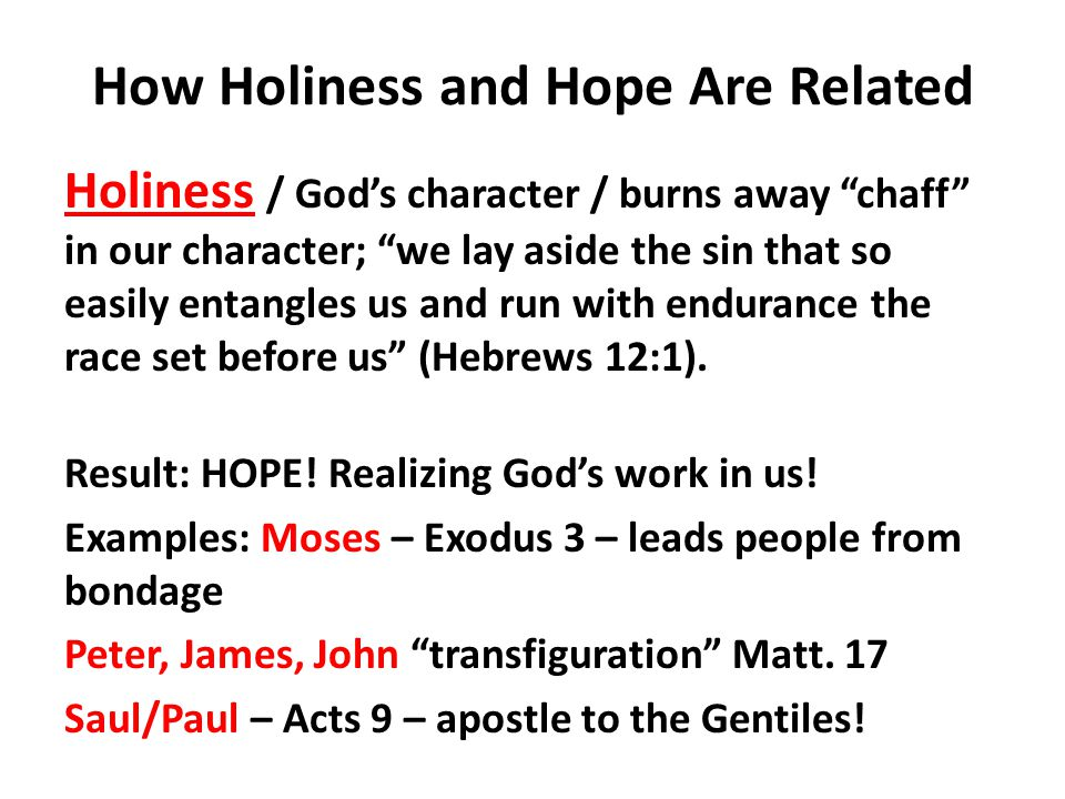 How Holiness and Hope Are Related Holiness / Gods character / burns away chaff in our character; we lay aside the sin that so easily entangles us and