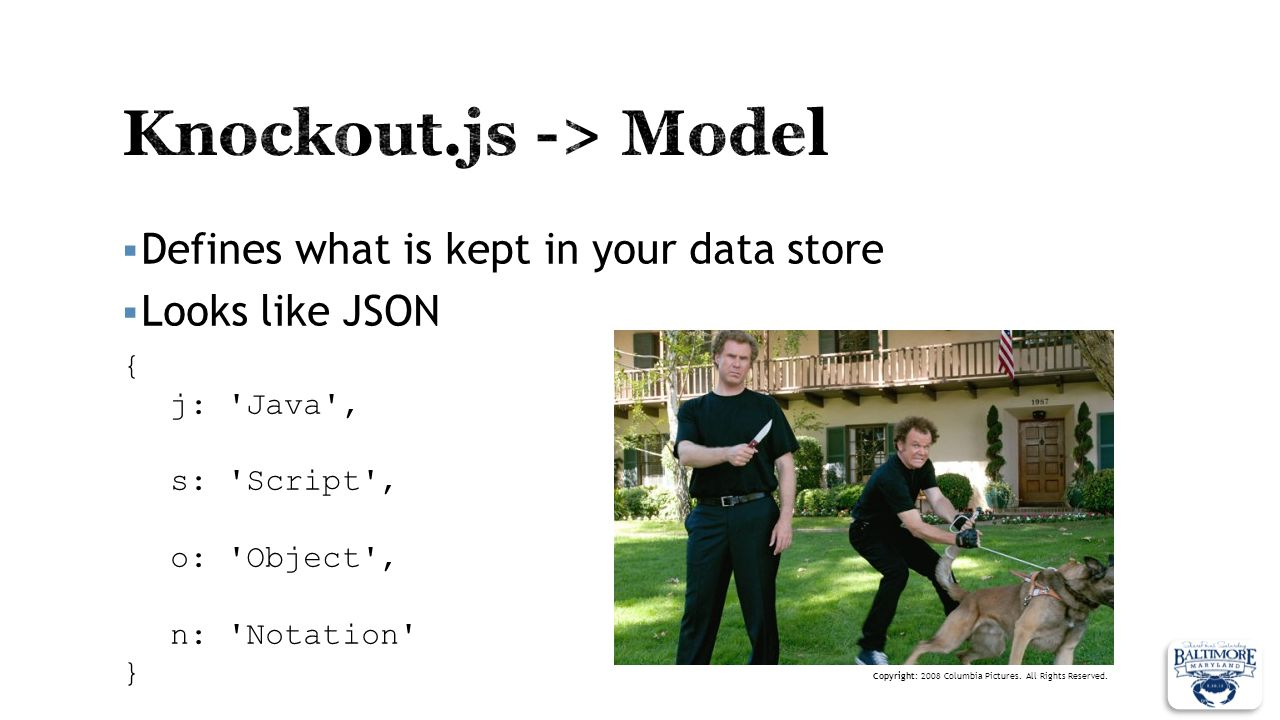 Defines what is kept in your data store Looks like JSON { j: 'Java', s: 'Script', o: 'Object', n: 'Notation' } Copyright: 2008 Columbia Pictures. All