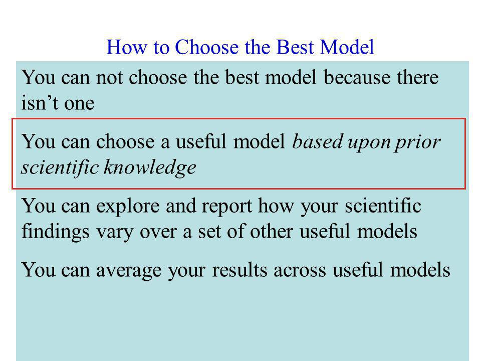 How to Choose the Best Model Miminize the mean squared error Minimize the Akaike Information Criterion (AIC) Minimize the Bayesian Information Criteri