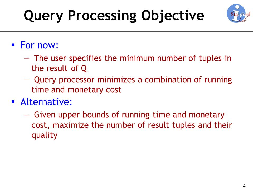 Rest of This Presentation Four example query plans demonstrating: Query operators Placing FRs in query plans 5