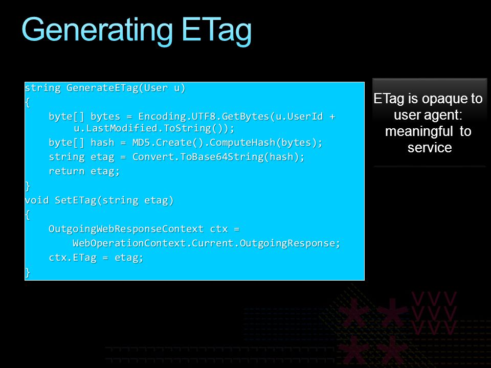 ETag is opaque to user agent: meaningful to service ETag is opaque to user agent: meaningful to service