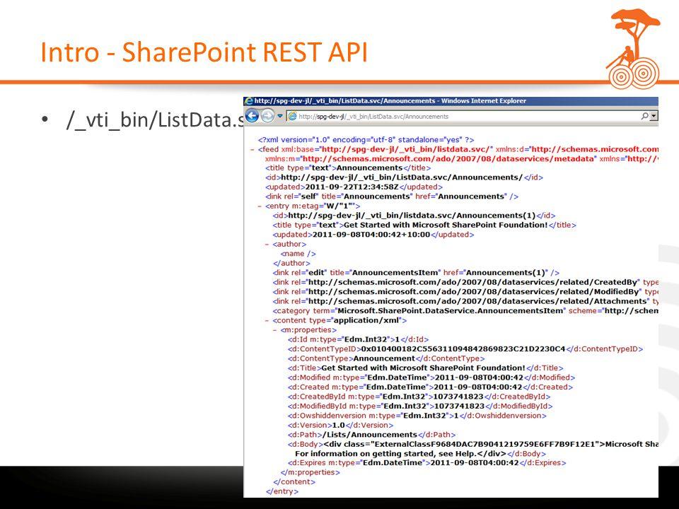 Intro - SharePoint REST API /_vti_bin/ListData.svc/