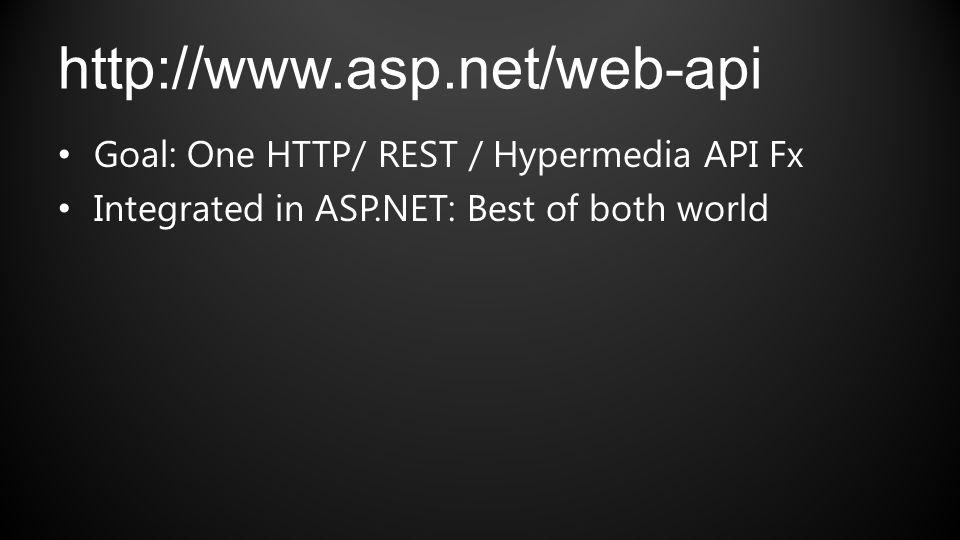 http://www.asp.net/web-api Goal: One HTTP/ REST / Hypermedia API Fx Integrated in ASP.NET: Best of both world