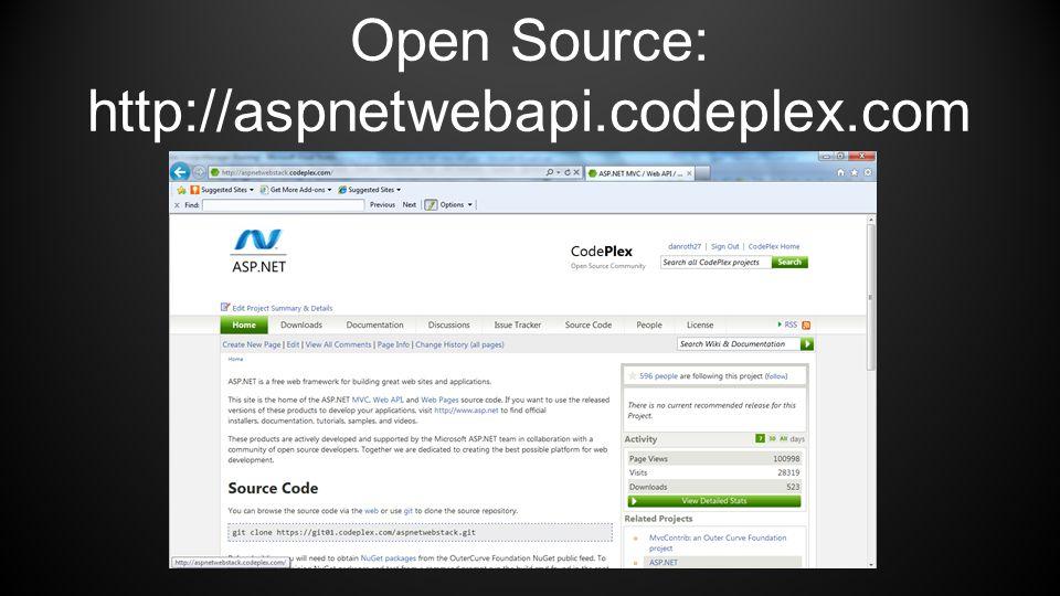 Open Source: http://aspnetwebapi.codeplex.com