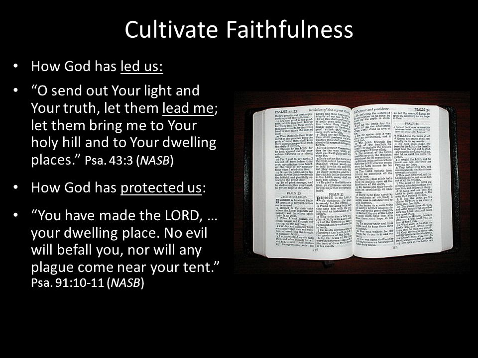 Cultivate Faithfulness How God has led us: O send out Your light and Your truth, let them lead me; let them bring me to Your holy hill and to Your dwelling places.