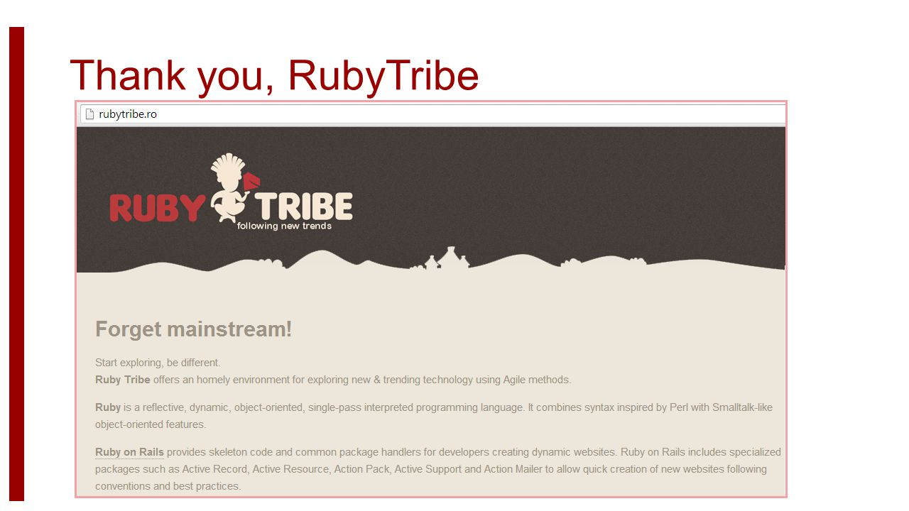 Thank you, RubyTribe