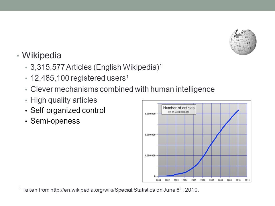 Wikipedia 3,315,577 Articles (English Wikipedia) 1 12,485,100 registered users 1 Clever mechanisms combined with human intelligence High quality artic