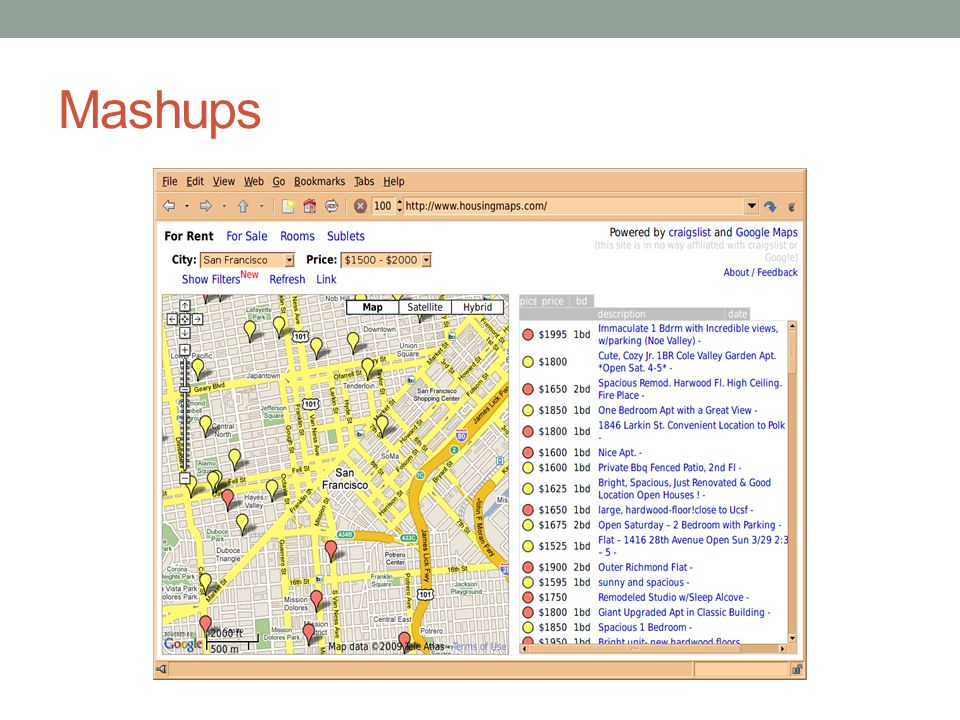 Housingmaps.com is a mashup created of Craigslist A centralized network of online communities, featuring free online classified advertisements – with sections devoted to jobs, housing, personals, for sale, services, community, gigs, résumés, and discussion forums.