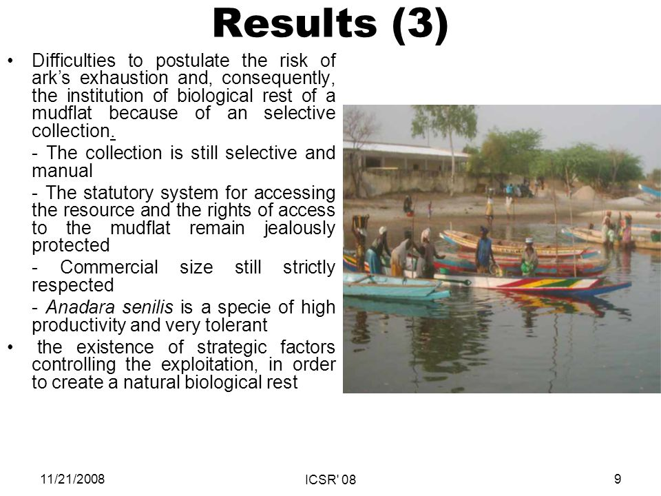 Results (3) Difficulties to postulate the risk of arks exhaustion and, consequently, the institution of biological rest of a mudflat because of an selective collection.