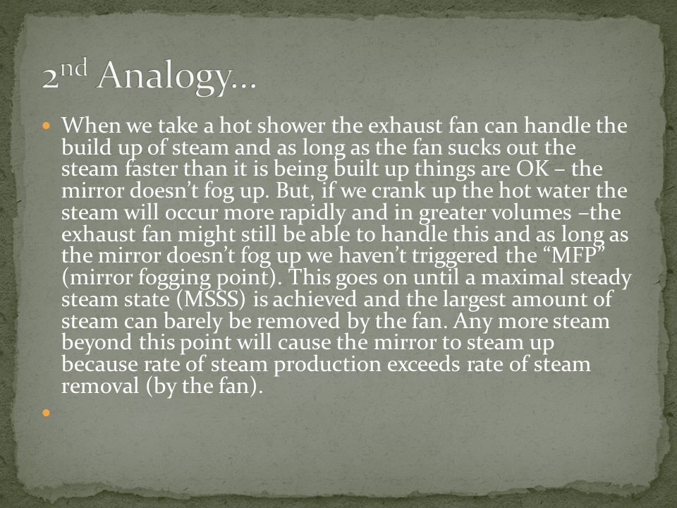 When we take a hot shower the exhaust fan can handle the build up of steam and as long as the fan sucks out the steam faster than it is being built up