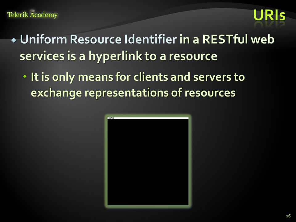 Uniform Resource Identifier in a RESTful web services is a hyperlink to a resource Uniform Resource Identifier in a RESTful web services is a hyperlin
