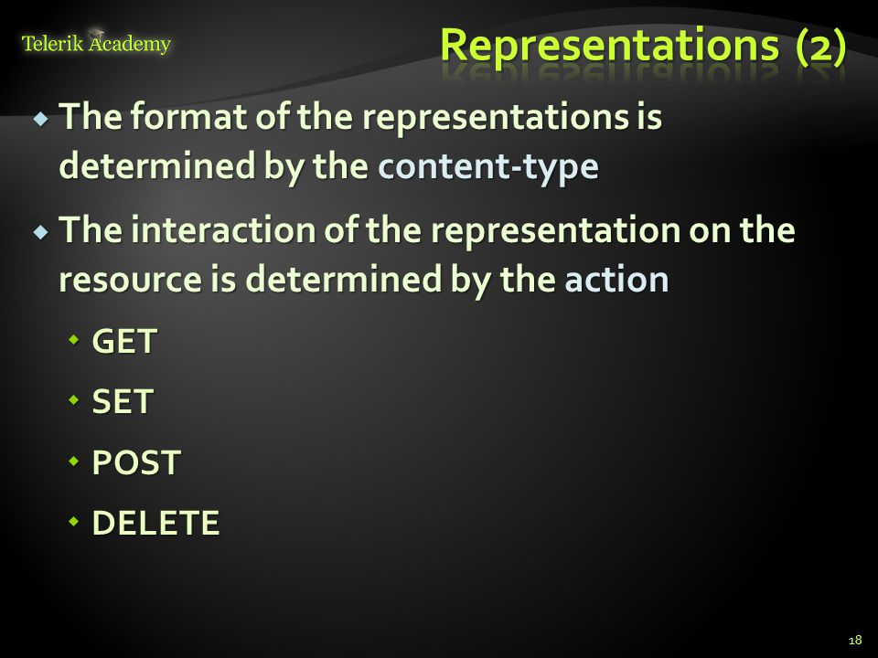 The format of the representations is determined by the content-type The format of the representations is determined by the content-type The interactio