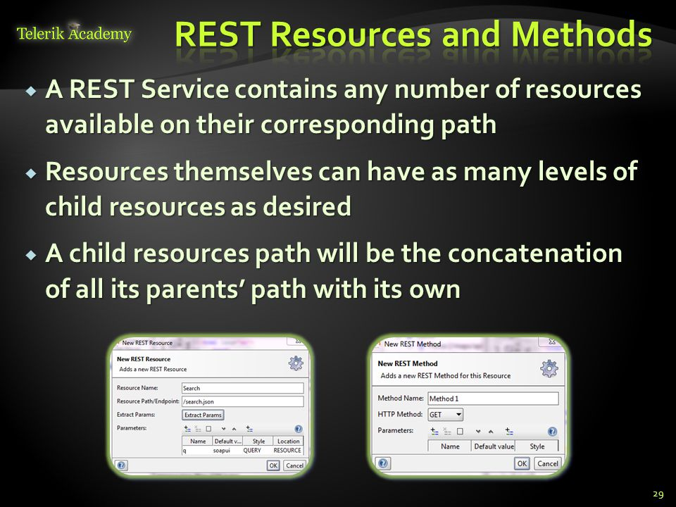 A REST Service contains any number of resources available on their corresponding path A REST Service contains any number of resources available on the