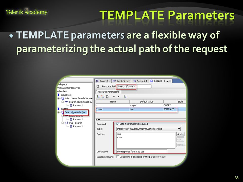 TEMPLATE parameters are a flexible way of parameterizing the actual path of the request TEMPLATE parameters are a flexible way of parameterizing the a