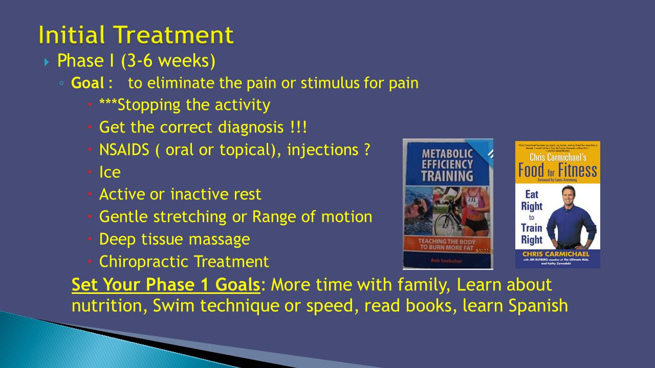 Phase I (3-6 weeks) Goal : to eliminate the pain or stimulus for pain ***Stopping the activity Get the correct diagnosis !!! NSAIDS ( oral or topical)