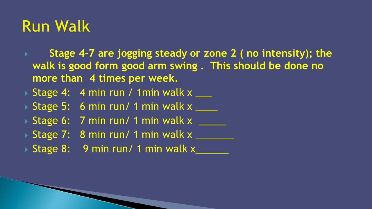 Stage 4-7 are jogging steady or zone 2 ( no intensity); the walk is good form good arm swing. This should be done no more than 4 times per week. Stage