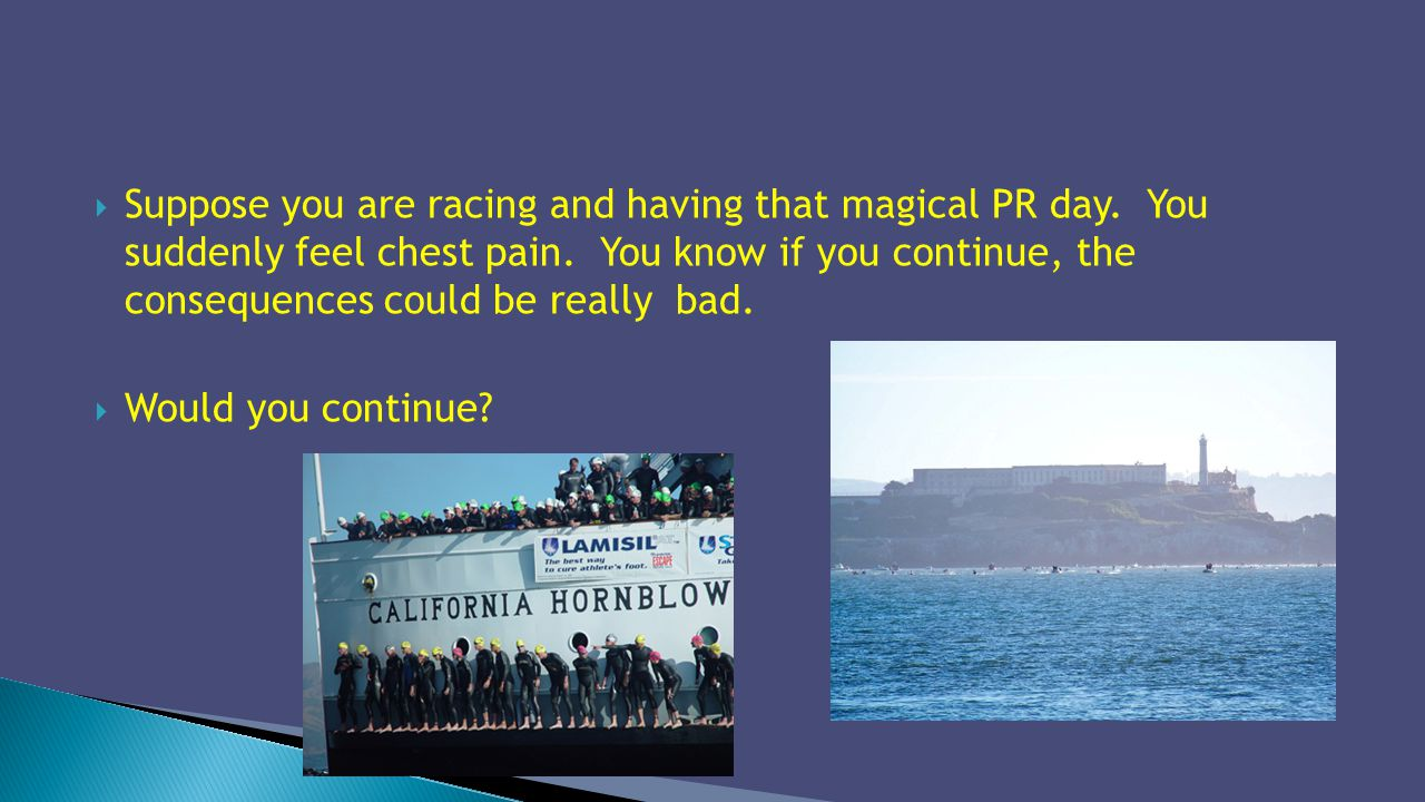 Suppose you are racing and having that magical PR day. You suddenly feel chest pain. You know if you continue, the consequences could be really bad. W